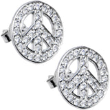 14kt White Gold CZ Paved Peace Sign Stud Earrings