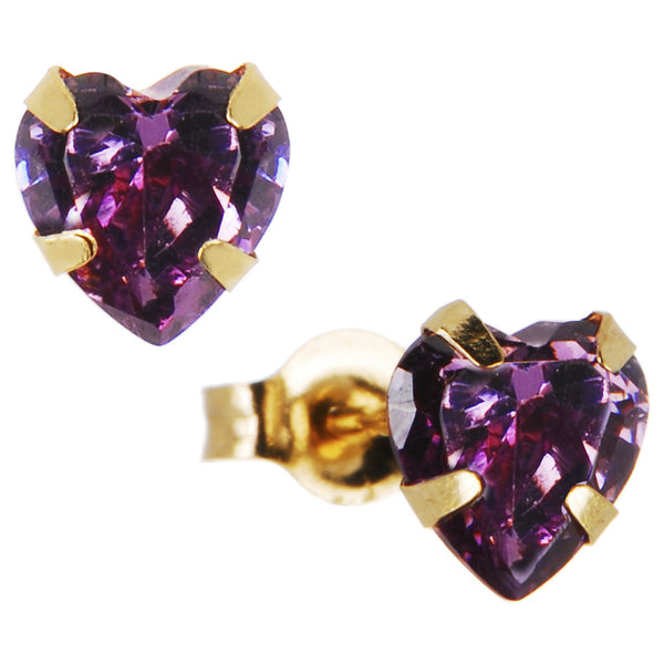 14kt Yellow Gold .47 Carat CZ Heart February Birthstone Earrings