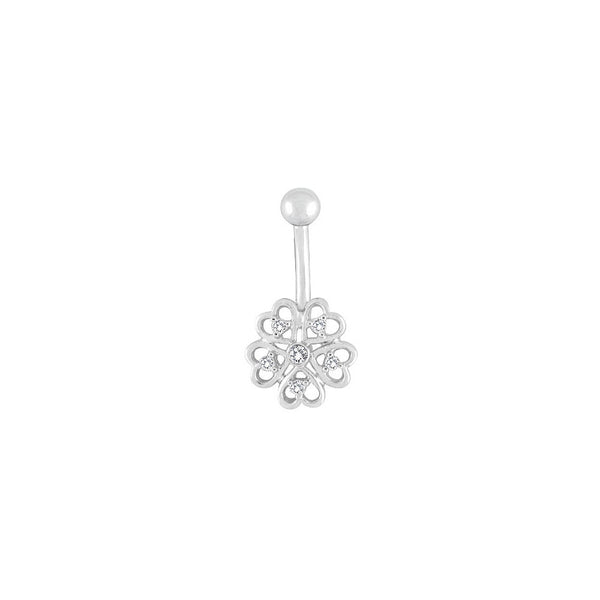 14kt White Gold .09 ct tw Diamond Heart Flower Belly Ring