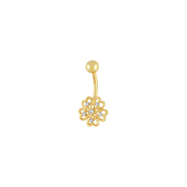 14kt Yellow Gold .09 ct tw Diamond Heart Flower Belly Ring