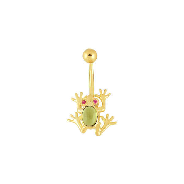 14kt Yellow Gold Genuine Sapphire Eye Cabochon Peridot Frog Belly Ring