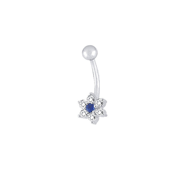 14kt White Gold .26 ct tw Genuine Blue Sapphire Diamond Flower Belly Ring