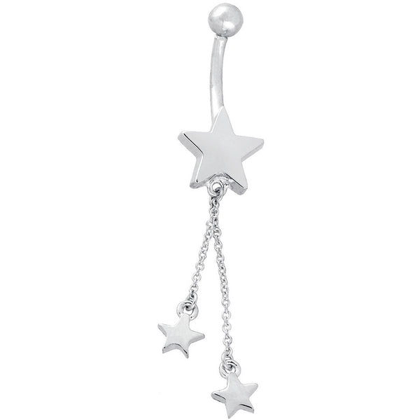 14kt White Gold Dangle Stars Belly Ring