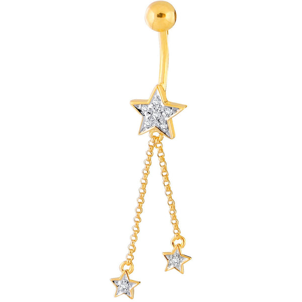 14kt Yellow Gold .06 ct tw Genuine Diamond Star with Dangle Stars Belly Ring