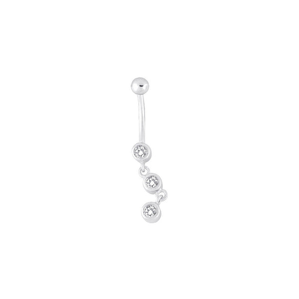 14kt White Gold .18 Genuine Diamond Dangle Belly Ring
