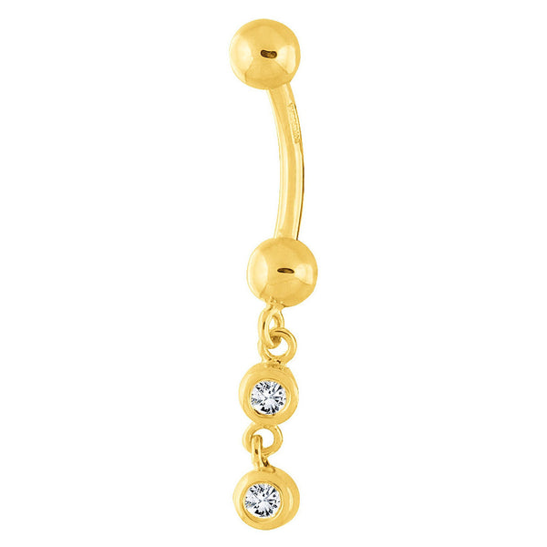 14kt Yellow Gold .14 Genuine Diamond Dangle Belly Ring