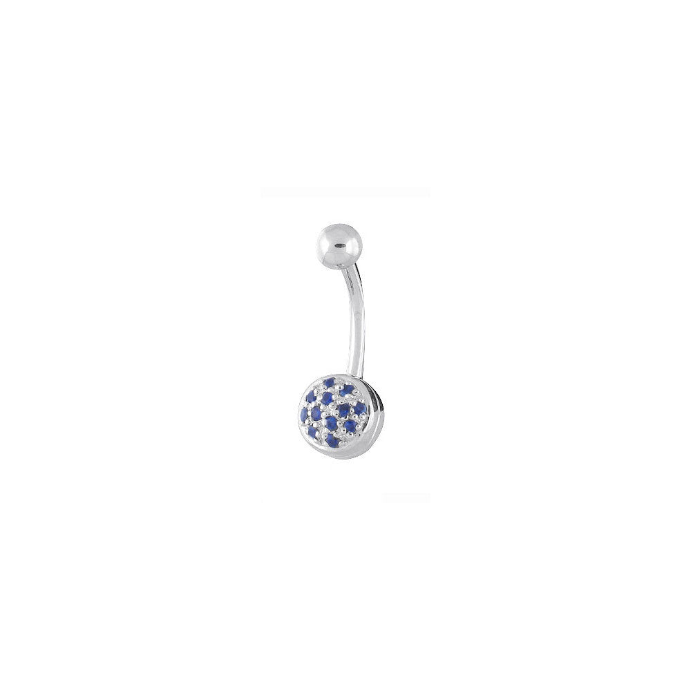 14kt White Gold Pave Genuine Blue Sapphire Belly Ring