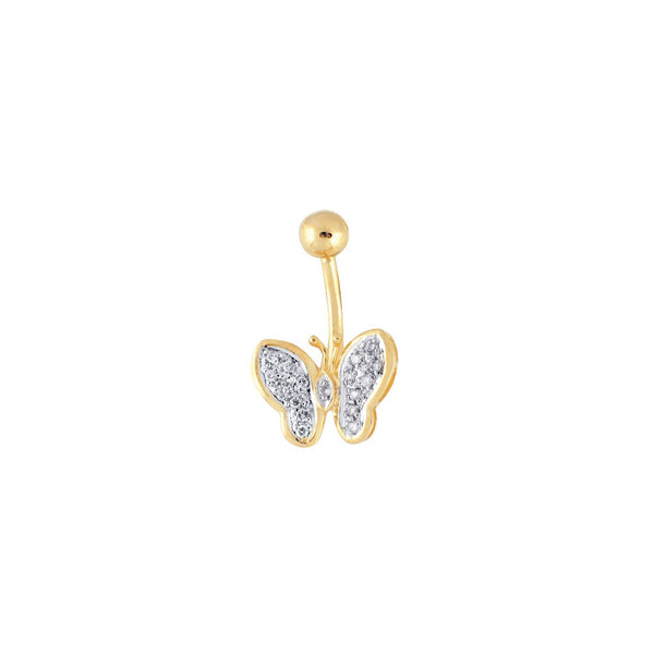 14kt Yellow Gold .11 ct tw Diamond Butterfly Belly Ring