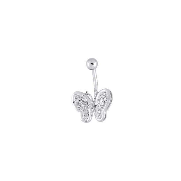 14kt White Gold .11 ct tw Diamond Butterfly Belly Ring
