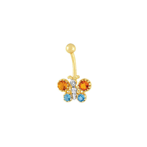 14kt Yellow Gold .025 ct tw Blue Topaz Citrine Diamond Butterfly Belly Ring