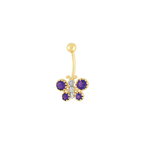 14kt Yellow Gold .025 ct tw Amethyst Diamond Butterfly Belly Ring