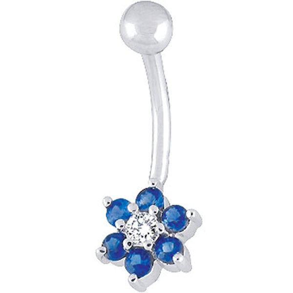14kt White Gold .06 ct tw Diamond Blue Sapphire Flower Belly Ring