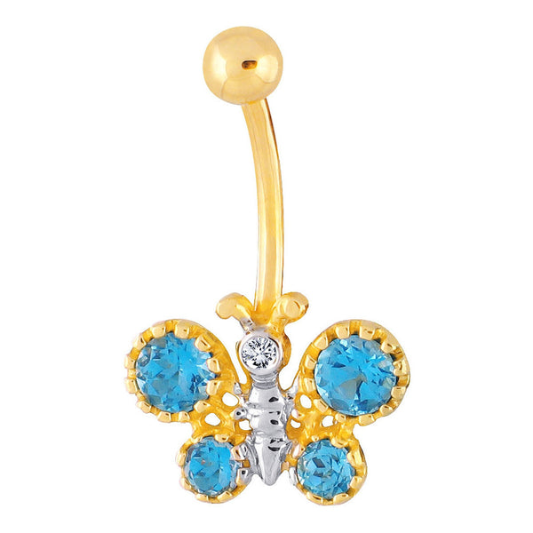 14kt Yellow Gold .025 ct tw Diamond Blue Topaz Butterfly Belly Ring