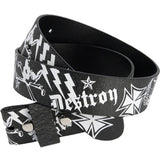 Black and White Leather GRAFFITI Snap Belt