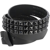 Black Leather BLACK 3-ROW PYRAMID Snap Belt