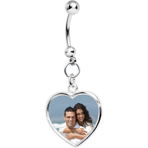 Full Color Heart Custom Photo Belly Ring