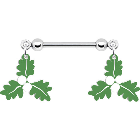 "14 Gauge 5/8"" Christmas Holiday Mistletoe Nipple Dangle Ring Set"