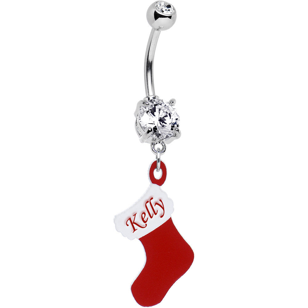 Clear Gem Custom Christmas Stocking Personalized Dangle Belly Ring