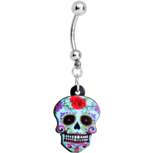 Light Blue Sugar Skull Belly Ring