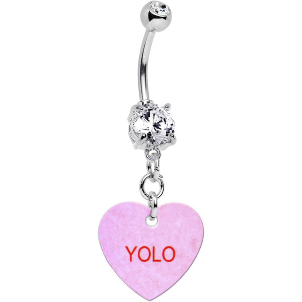 Custom Clear Gem Pink Valentine Conversation Heart Dangle Belly Ring