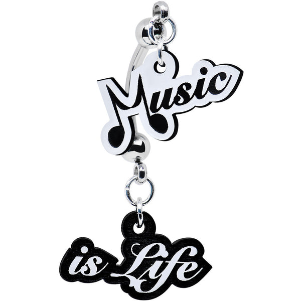 Black and White Acrylic Music Is Life Double Mount Belly Ring
