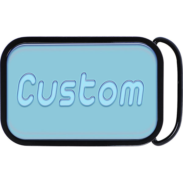 Custom Square Full Color GEL BLUE Personalized Belt Buckle