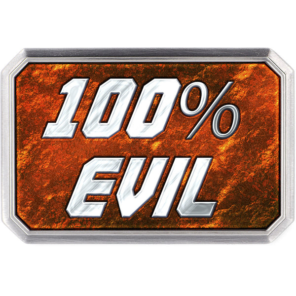 Custom Full Color Fiery 100% EVIL Belt Buckle