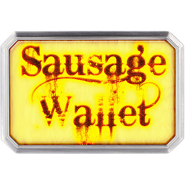 Custom Full Color Distressed SAUSAGE WALLET Belt Buckle
