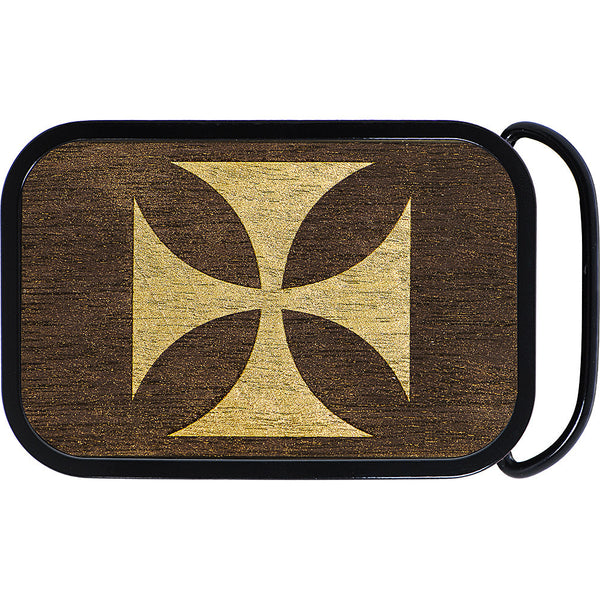 Real Wood Gold Iron Cross Belt Buckle