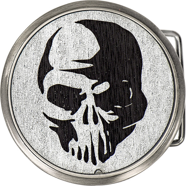 Real Wood Silver Circle Skull Belt Buckle