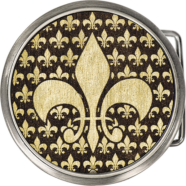 Real Wood Gold Fleur de Lis Belt Buckle