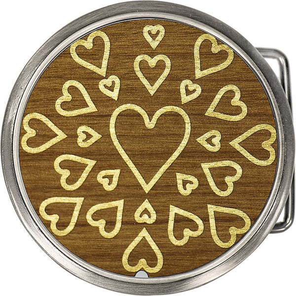 Real Wood Gold Hearts Belt Buckle