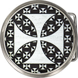 Real Wood Silver Iron Cross Belt Buckle