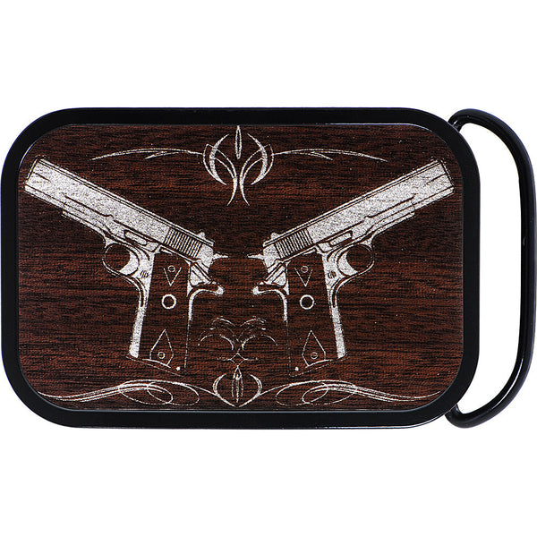 Real Wood Silver Hand Gun Belt Buckle