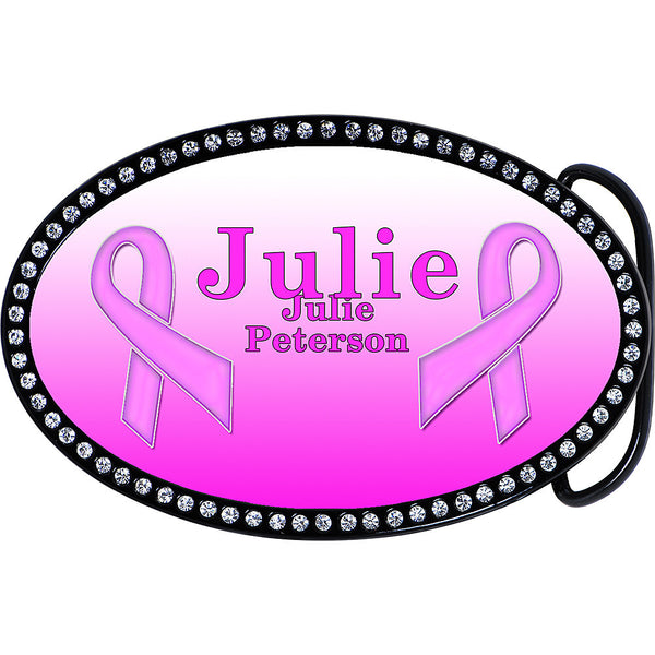 Custom Oval Breast Cancer Belt Buckle Made With Swarovski Crystals