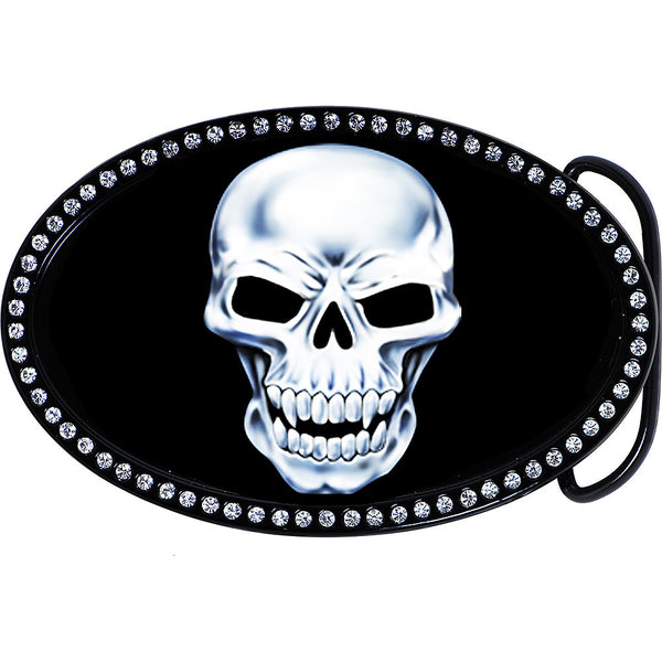 Austrian Crystal Glaring Skull Belt Buckle