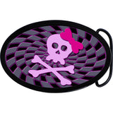 Oval Pink Bow Skull and Crossbones Belt Buckle