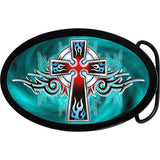Flaming Blue Tribal Cross Belt Buckle