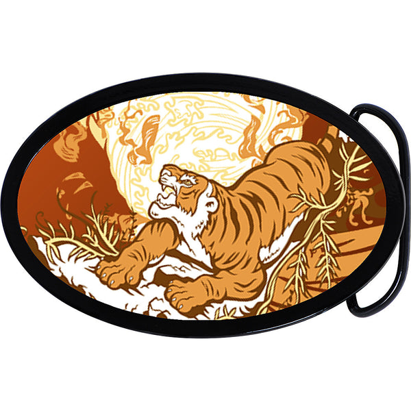 Flames Prowling Tiger Belt Buckle