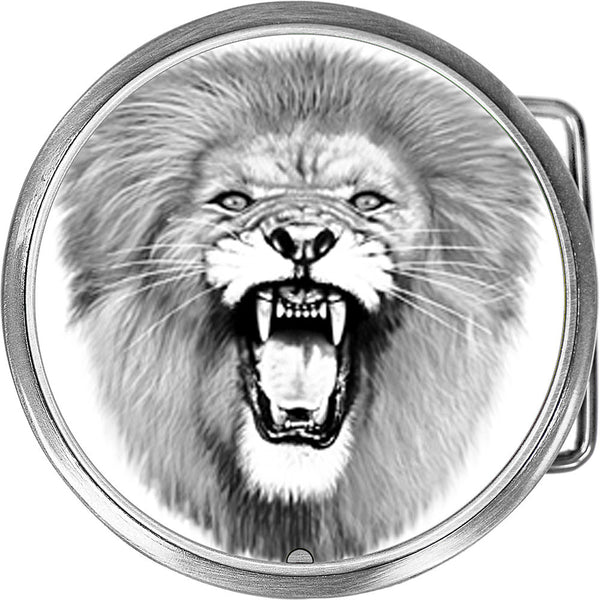 Black and White Lion Belt Buckle
