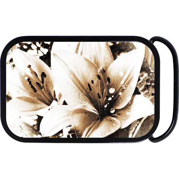 Black and White Lily Flower Belt Buckle