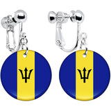 Barbados Flag Clip on Earrings