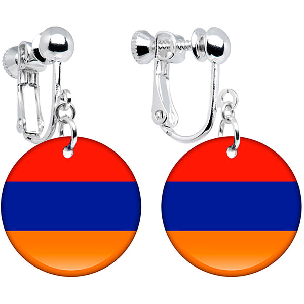 Armenia Flag Clip on Earrings