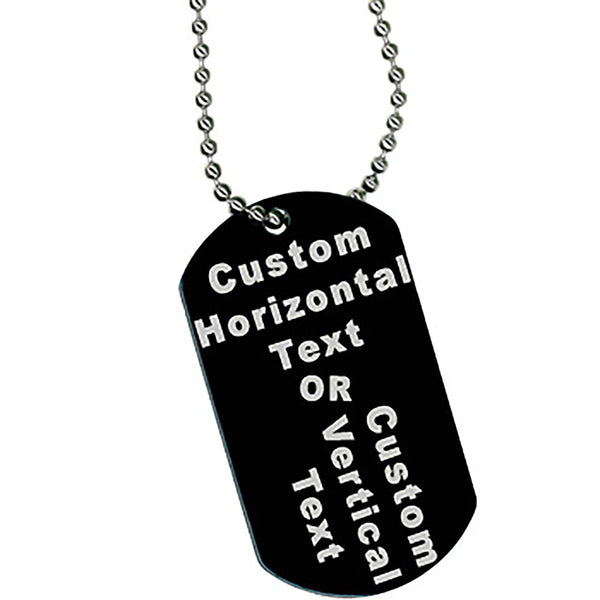 Custom No. 1 BLACK Anodized 2 Inch Military ID DOG TAG Necklace