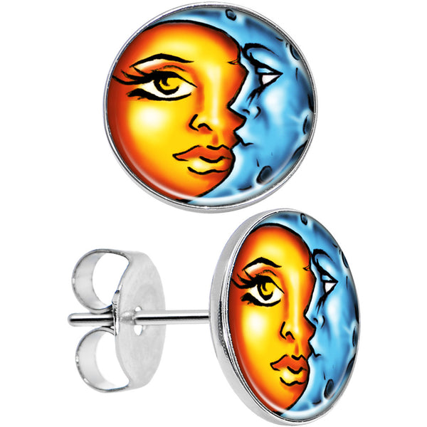 Stainless Steel Post Celestial Prismatic Sun and Moon Stud Earrings