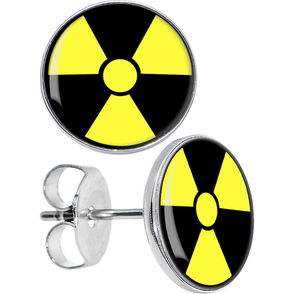 Black and Yellow Radiation Stud Earrings