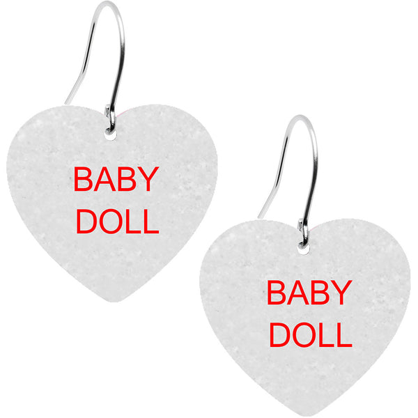 Custom White Conversation Heart Personalized Earrings