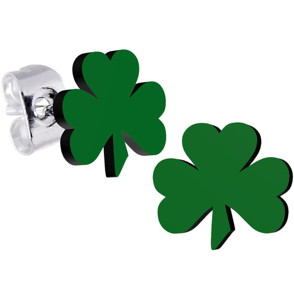Green Irish Clover Stud Earrings