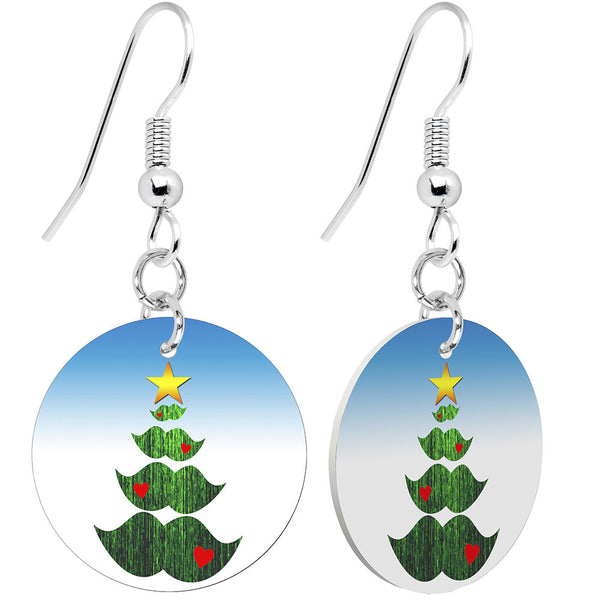 Mustache Tree Holiday Earrings