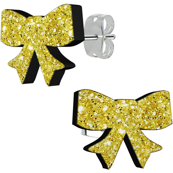 Gold Rush Glitter Ribbon Stud Earrings